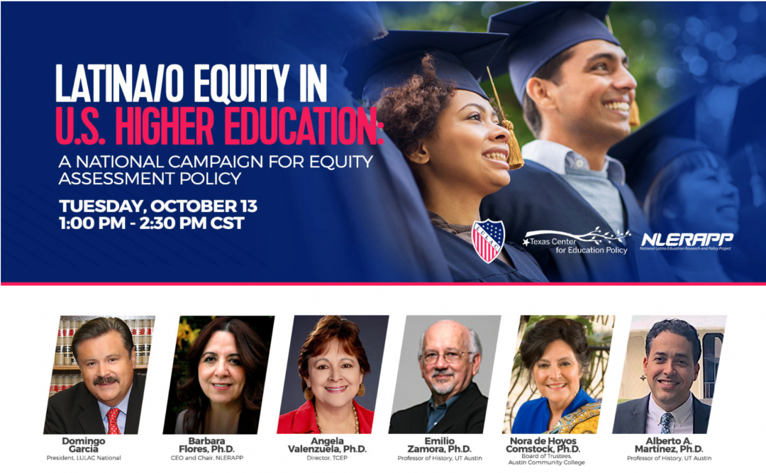 Latina/o equity in U.S. Higher Education Promo Image, Info provided in post